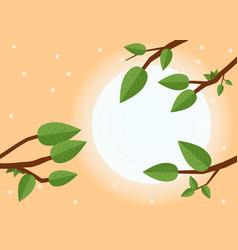 cartoon sunset flat trees leaf and sun vector image