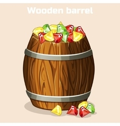 Cartoon wooden barrel full of colorful gems game vector image