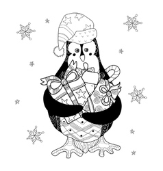 Christmas penguin with gifts vector