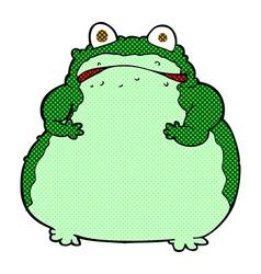 Comic cartoon fat frog vector