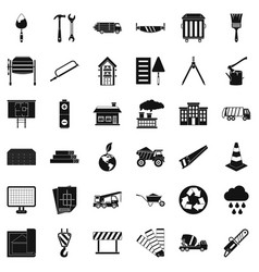 Construction material icons set simple style vector