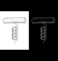 Corkscrew hand drawn sketch on white and black vector