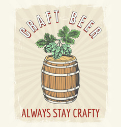 craft beer vintage poster vector image