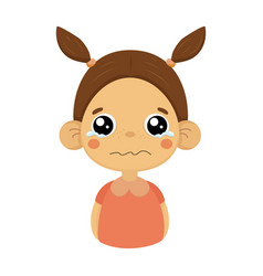 crying little girl flat cartoon portrait emoji vector image