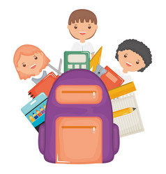 cute little students group with schoolbag and vector image