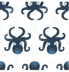 Cute octopus flat seamless pattern vector
