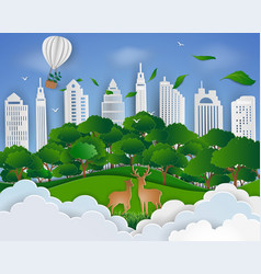 deer family and urban city background vector image
