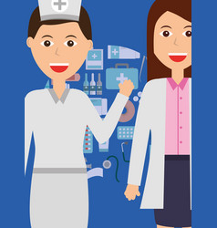 Doctor female and nurse occupation medicine vector