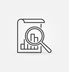Document with magnifying glass icon in line vector
