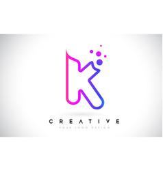 Dots letter k logo k letter design with dots vector