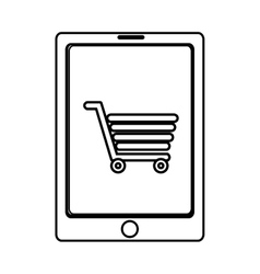 Electronic device with shopping cart on the screen vector