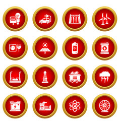Energy sources icons set simple style vector