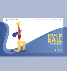 Exercise ball training landing page template good vector