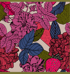 Exotic background with bright flowers vector