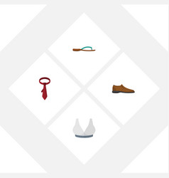 Flat icon dress set of male footware brasserie vector