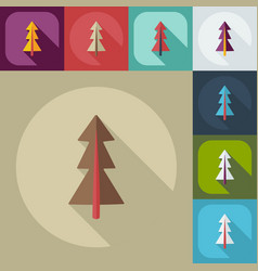 flat modern design with shadow icons pine vector image