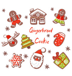 flat set of christmas gingerbreads in vector image