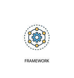 Framework concept 2 colored line icon simple vector