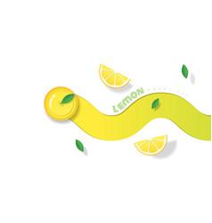 fresh lemon fruit background in paper art style vector image
