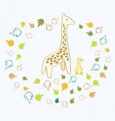 giraffe and duck vector image