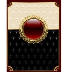 Golden vintage frame with floral medallion vector