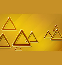 Golden yellow triangles background glossy vector