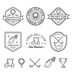 golf logos set sports club linear vector image