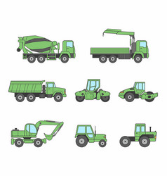 Green construction machines icons set vector