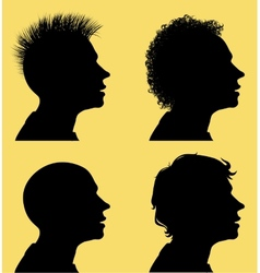 Hair Style Silhouettes vector image