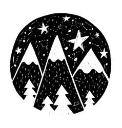 hand drawn circle with stars vector image