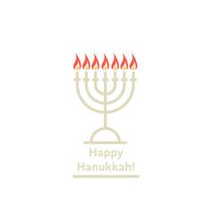happy hanukkah thin line logo with candles vector image