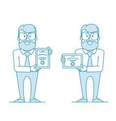 Happy man holding certificate certification vector