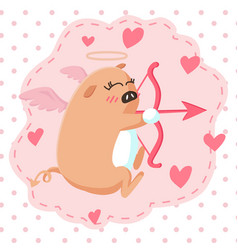 happy valentines day with cute pig cupid shoot vector image