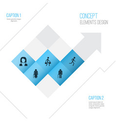 Human icons set collection of businesswoman vector