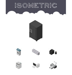 Isometric business set of garbage container wall vector