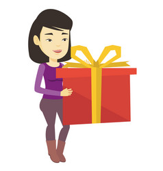 Joyful asian woman holding box with gift vector