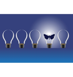 Light bulbs and a butterfly vector image