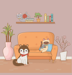 Little dog and cat mascots in house room vector