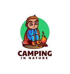 logo camping mascot cartoon style vector image