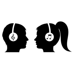 Man and woman listening to music vector