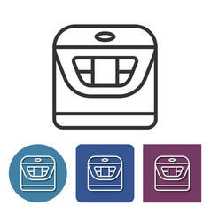 Multicooker line icon in different variants vector