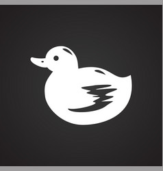 Pet toy duck icon on black background for graphic vector