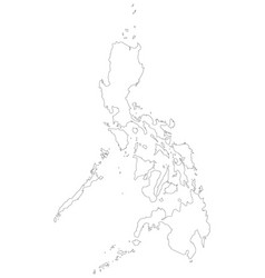 philippines map of black outline map on white vector image