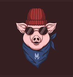 Pig head bandana vector