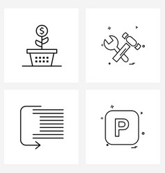 Pixel perfect set 4 line icons such as growth vector