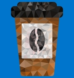 Polygon of disposable coffee cup vector