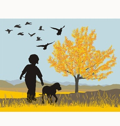 Puppy and boy vector image vector image