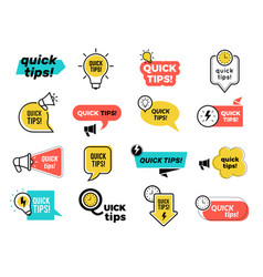 quick tips badges graphic stickers ideas vector image