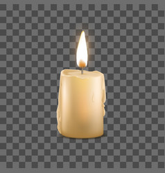 realistic detailed 3d burning wax candle on a vector image