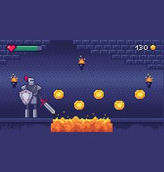 Retro computer games level pixel art video game vector